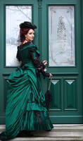 Stock - Victorian Lady green gown back full view