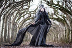 Stock - Gothic Lady black dark veil wind