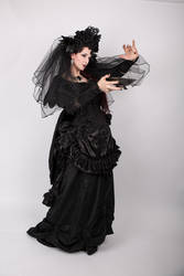 Stock - Gothic woman with with bowl pose 4 by S-T-A-R-gazer