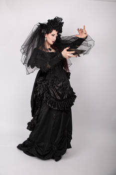 Stock - Gothic woman with with bowl pose 4