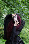 Stock - Gothic woman closed eyes and claws