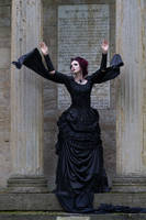 Stock - Victorian gohtic woman magic pose wind 3 by S-T-A-R-gazer