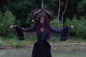 Stock - Gothic headdress hands up pose straight