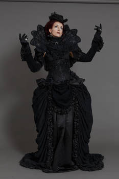 Stock - Gothic baroque lady both hands up pose