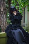 Stock - Baroque lady sitting mourning emotional
