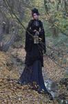 Stock - Gothic autumn lady lantern full body 6