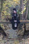 Stock - Gothic autumn lady sitting bridge pose 1