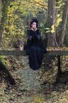 Stock - Gothic lady sitting bridge hand pose