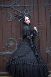 Stock - Gothic woman headdress dark raven stand 1 by S-T-A-R-gazer