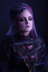 Stock - Spiderweb woman portrait closed eyes by S-T-A-R-gazer