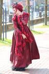Stock - red dress romantic woman wind pose