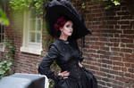 Stock - Gothic lady with big hat portrait pose