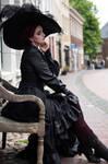 Stock - Gothic lady sitting pose side romantic 2