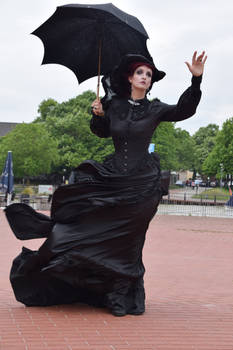 Stock - Gotic lady storm wind hand up pose
