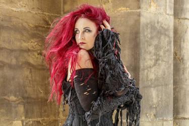 Stock - Gothic sorceress look back portrait wild
