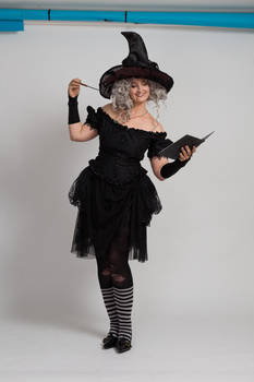 Stock - Halloween grey witch book wand 2