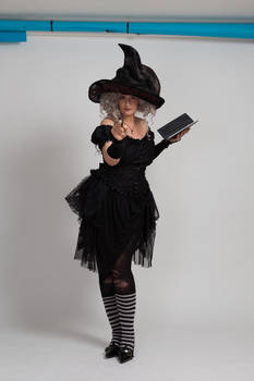 Stock - Halloween grey witch book wand 5