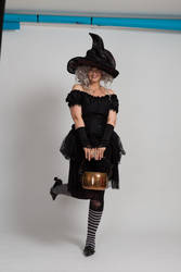 Stock - Halloween grey witch with a cauldron 14