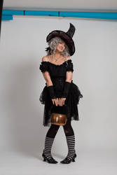 Stock - Halloween grey witch with a cauldron 15