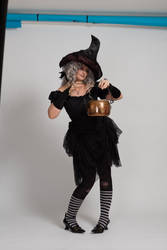 Stock - Halloween grey witch with a cauldron 19