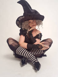 Stock - Halloween witch sitting pose