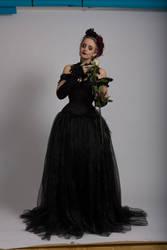 Stock - Gothic black rose dress emotional white 3