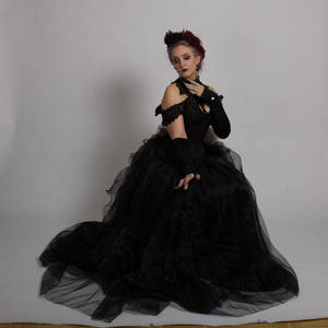 Stock - Gothic black rose dress sitting pose 10