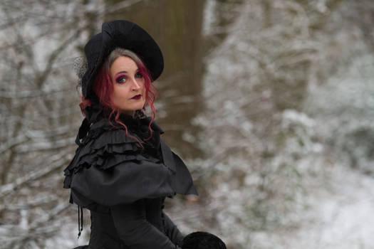 Stock - Victorian winter woman snow portrait 1
