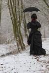 Stock - Victorian winter woman umbrella back 2