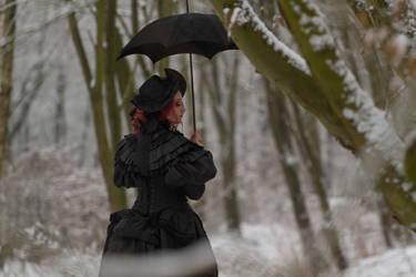 Stock - Victorian winter woman trees side portrait