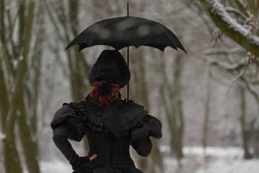 Stock - Victorian winter woman umbrella back goth