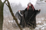 Stock - Gothic winter snow woman wind pose