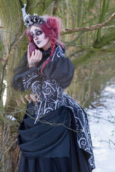 Stock - Burton portrait woman look shy spooky goth
