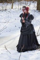 Stock - Burton woman snow spooky bustle gown