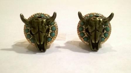 Iron Bull  stud back earrings by gangstaunicorncomix
