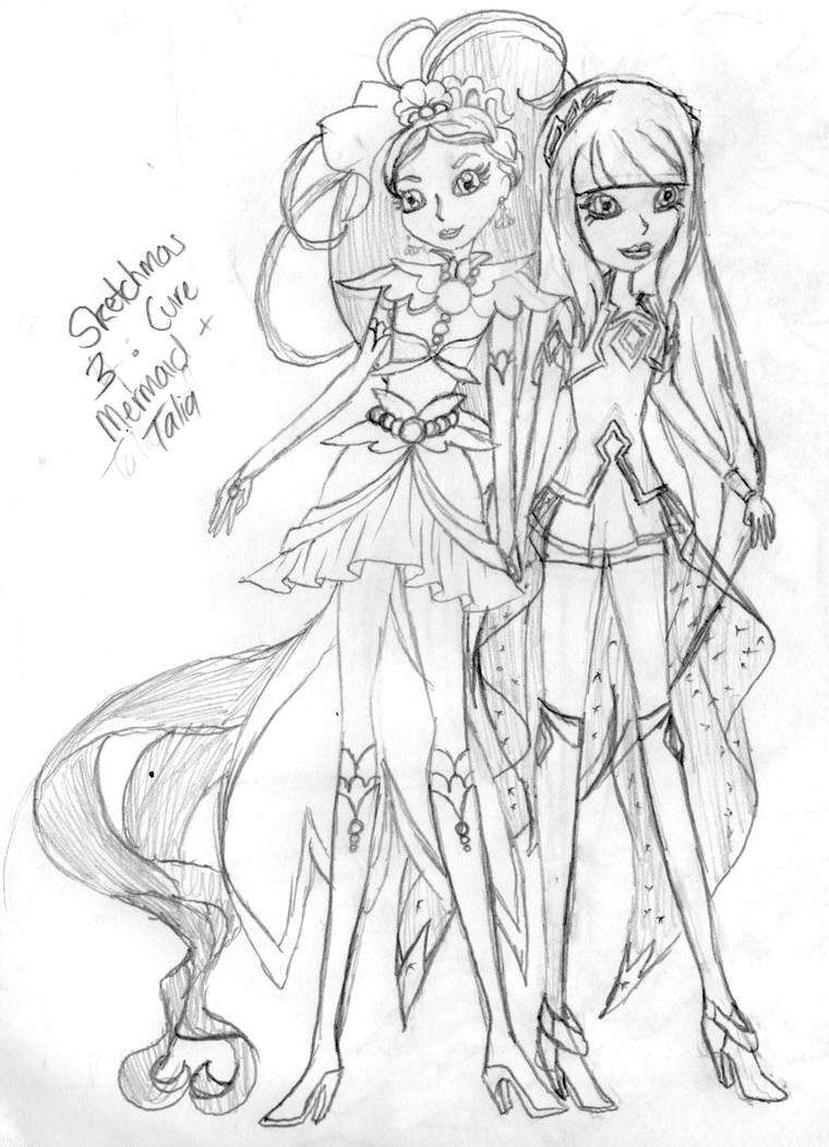 Sketchmas 3 Cure Mermaid and Talia by PurpleAmharicCoffee