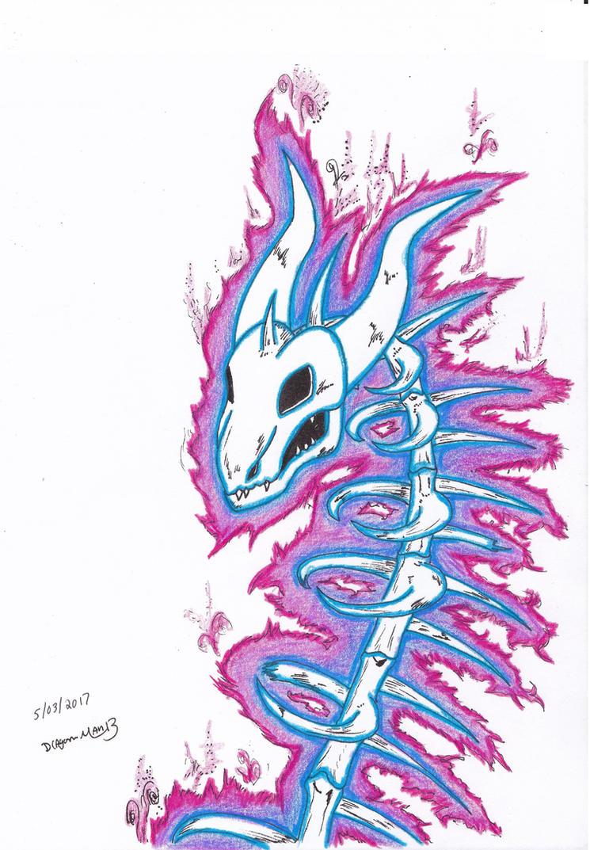Skeletal Dragon colored version by dragon-man13