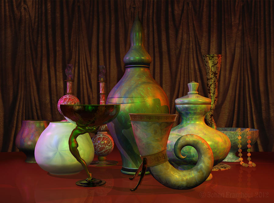Still Life With Vases Pots Perfume Bottles And By Nahojis On