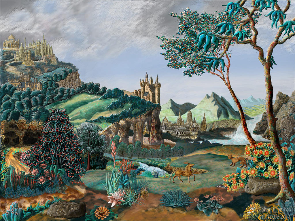 Surreal baroque Landscape by nahojis