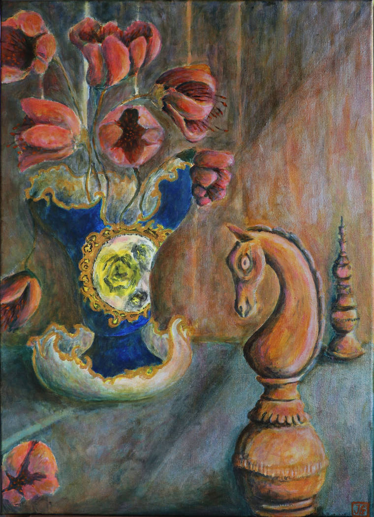 Still life with chessmen and rococo vase by nahojis