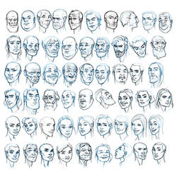 Random face studies by MattRhodesArt