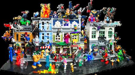 Lego Modular Builds w/ Marvel Heros Battle