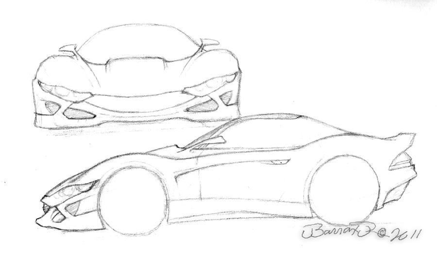 Unnamed sports car concept- pencil sketch by JBarraxJr on
