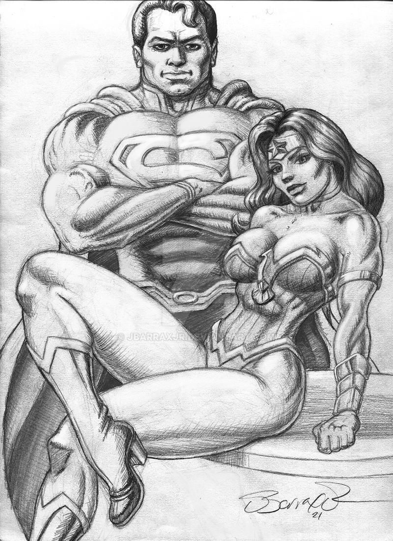 Superman Wonder Woman pencil drawing