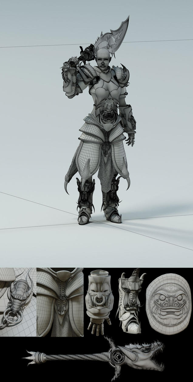 Warrior-Dragon Wires by cuatrod