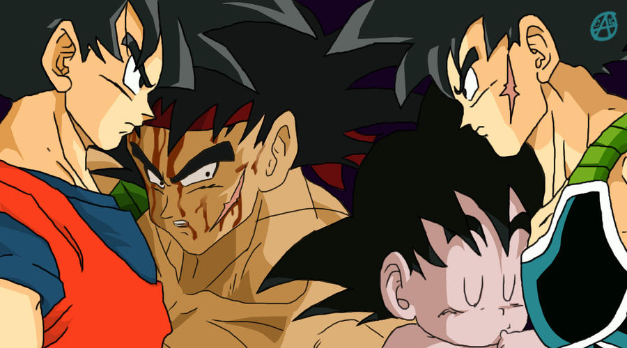 Bardock and Goku by wolfyLRiina