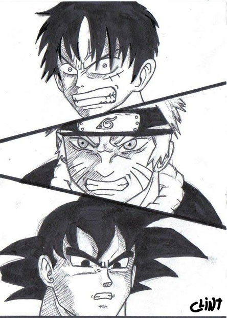 Luffy vs. Naruto vs. Goku by clint-comics