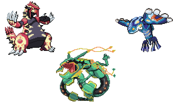 Primal Groudon Primal Kyogre And Mega Rayquaza By