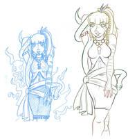 Mollie-Sue-Doo (lines vs Sketch) by drazzi