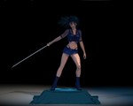 Sword Girl with Fastscatter Nodes by ArdathkSheyna